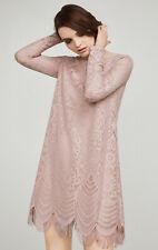 $198 BCBG Marae Tea Rose Mauve Pink Lace A-Line Cocktail Dress Size XS 2 4