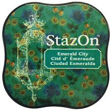 New STAZ-ON  Rubber stamp SOLVENT Ink pad EMERALD CITY GREEN free US ship