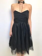 FAB FLEUR WOOD BLACK NET SKIRT STRAPLESS BONED BODICE PARTY COCKTAIL DRESS SZ 3