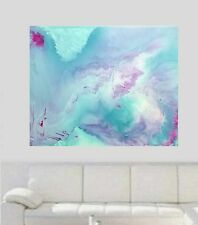Teal Blue silver White Modern Hand Painted Abstract Canvas Painting Original Art