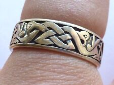 "Sterling Silver Double Celtic Bird Band Stamped 925 Ring Size 9 Hallmarked ""J"""