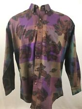 Vintage 90's Chaps Ralph Lauren Leaf Print Button Down Long Sleeve Shirt Size L