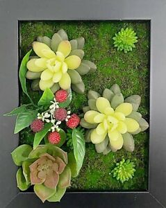 Artificial Plants Multi Flowers Room Wall Art 3D Home office Decor Brown frame