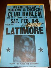 Latimore Poster Club Harlem Prichard Alabama 14 x 22 original 1980s *