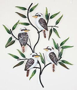 Kookaburra Bird Tree Leaves Metal Hanging Wall Art Sculpture Home Garden 69 cm