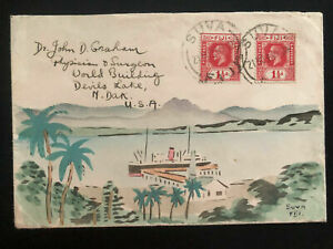1935 Suva Fiji Karl Lewis Cover To Devils Lake ND USA Ship In Port Cachet