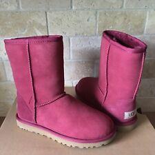 UGG Australia Classic Short Sangria Suede Sheepskin Boots Size 5 Womens