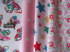 Cath Kidston 4 * FQ 50cm square bundle butterflies stars provence rose pink spot