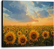 Sunset In Sunflower Field Flowers Floral Ready To Hang Fine Art Canvas 30x40