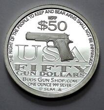 SCARCE 2010 $50 SECOND AMENDMENT LIBERTY GUN DOLLAR 1oz.999Silver Round !