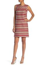 NWT Lafayette 148 New York Twiggy Woven Stripe Shift Dress $568 – Size 12