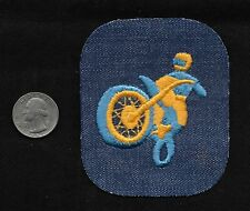 Vintage 60-70s DENIM Motorcycle Jacket Biker Motocross Off Road Racing Patch Y