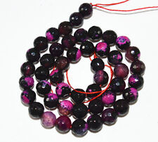 """8mm Faceted Fink Multicolor Fire Agate Gems Round Loose Beads 15 """"AA"""