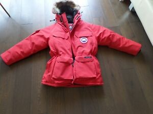 NWT CANADA GOOSE Expedition Parka red down heavy hooded fur sz L, CANADA