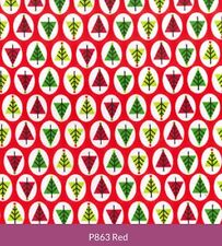 Poly Cotton Fabric - Christmas Trees Red - Polyester & Cotton Mix Metre NEW