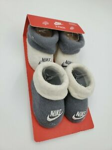 2 Pair Nike Baby Booties, Size 0-6 Months, Gray, Shower Gift, L34