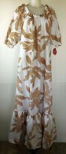 VTG NWT Hilo Hattie Lorraine White Ginger Flower Muu Muu L Made in Hawaii USA