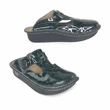 Alegria Woman's Shoes Classic Clog Patent Leather Leopard Green EUR 38 US 8