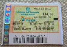 2007  MARCA DA BOLLO TELEMATICA DA € 14,62 ANNO 2007  NUOVA da COLLEZIONE