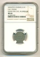 NGC MS64 Undated Merchant Token Louisville KY S W Young Good For 2 1/2 Cents
