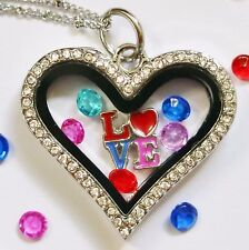 Glass Locket Necklace Floating Charms Heart Shaped Love Crystals Christmas Gift