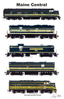 "Maine Central Green Locomotives 11""x17"" Poster by Andy Fletcher signed"