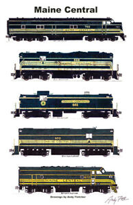 """Maine Central Green Locomotives 11""""x17"""" Poster by Andy Fletcher signed"""