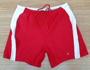 "ACCLAIM Melbourne Mens Boxer Swimming Trunks XXL 30""/32"" Waist Red White"