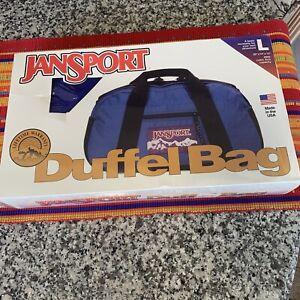 VTG New Large JANSPORT  Duffle Sport Overnight &Travel Bag Blue