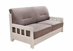 Schlafsofa Sofa Couch mit Schlaffunktion Schlafcouch Massivholz Grau Weiß 39010