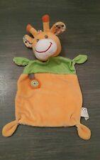 Doudou Nicotoy girafe plat orange vert marron pois