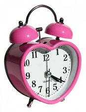 Pink Heart Shaped  Retro Alarm Clock ~ Home Decor ~ Bedroom ~ Kids ~ Gift