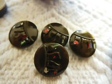 lot 4  boutons anciens en verre marron drapeaux 1,3 cm G18E