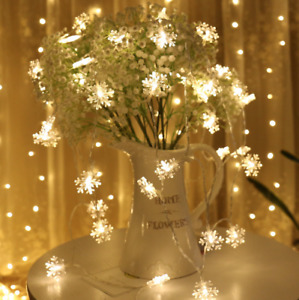 3M/5M LED Snowflake Battery Fairy string Warm white Indoor Xmas Party Decor