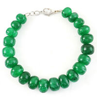 280.00 Cts Earth Mined Round Shape Green Emerald Genuine Beads Bracelet (RS)