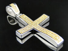 Mens Elegant 316 Stainless Steel Lab Diamond Cross Charm in Smooth White Finish