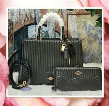 NWT COACH ZOE Carryall ART DECO Quilting T/H SATCHEL & WALLET In BLACK Leather