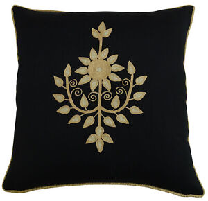 S4Sassy Floral Embroidered Poly Dupion Square Pillow Cover Black-Ls6