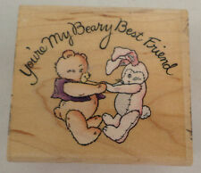 Rubber Stampede You'Re My Beary Best Friend Bunny And Bear Wooden Rubber Stamp