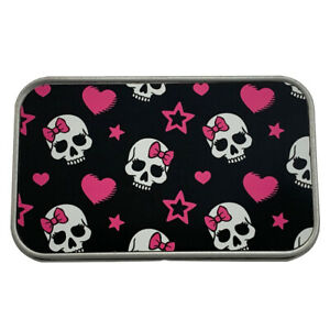 Girly Skull with Pink Bow Rectangle Metal Tin Storage Container Stash Box