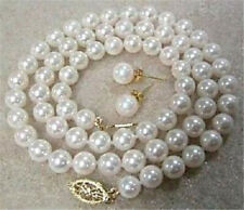 "6/8/10/12mm White Akoya Shell Pearl Round Beads Necklace Earrings Set 18"" AAA"