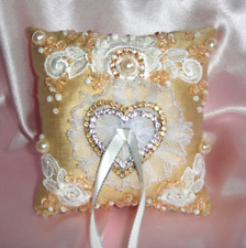 Bridal Wedding Ring Pillow Golden-White wt lace beads rhinestones. Handwork. New