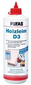 (6,60€/kg) HOLZLEIM D3 wasserfest PUFAS 1000 gr.  Flasche