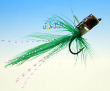 Free Box w/ 12 PCS  Green Foam Trout Bass Bug Popper Traditional Dry Wet Hook 6#
