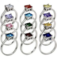 3-12 Rhodium Princess Cut Birthstone Ring Wedding Birthday Child Daughter Gifts