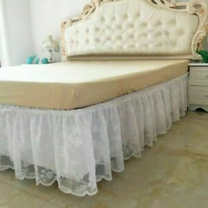 Lace Floral Bed Skirt Double Layer Bed Base Wrap Around Cover Bed Dustproof