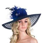 Women Wide Brim Church Dress Wedding Kentucky Derby Royal Ascot Feather Hat A265