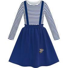 Us Stock! 2 Pieces Girls Dress T-Shirt Suspender Skirt School Uniform Size 4-12
