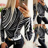 Sexy Women's Printed Long Sleeve Blouse Tee Ladies Casual Slim Fit Tops T-Shirt