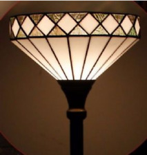 Tiffany Style Floor Lamp Handcrafted Uplighter Torchiere Stained Glass Art Light